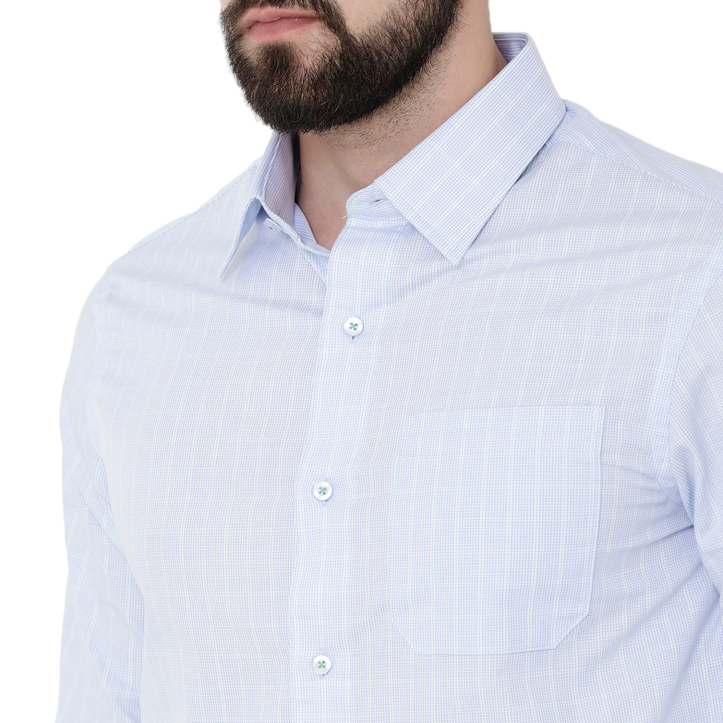Double TWO Blue & Mint Green Check Formal Shirt