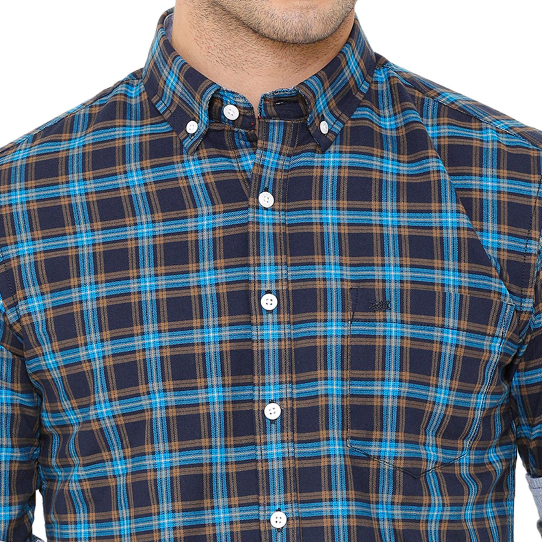 Bar Harbour Men Blue & Orange Slim Fit Checked Casual Shirt