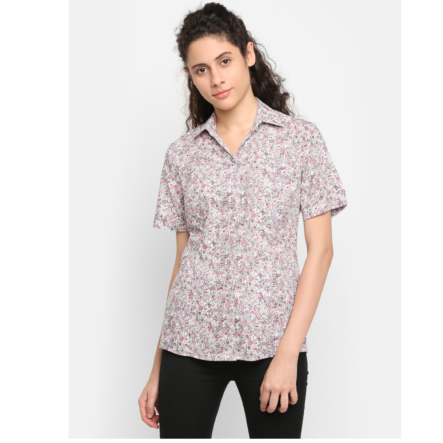 Double TWO Womens Pink Floral Print Half Sleeve Shirt