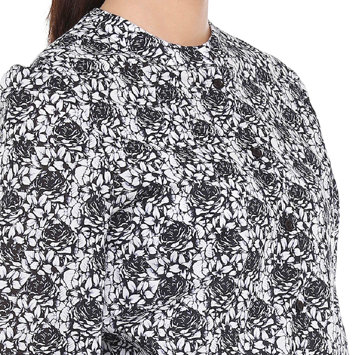 Double TWO Charcoal Sketched Rose Print Women's Top