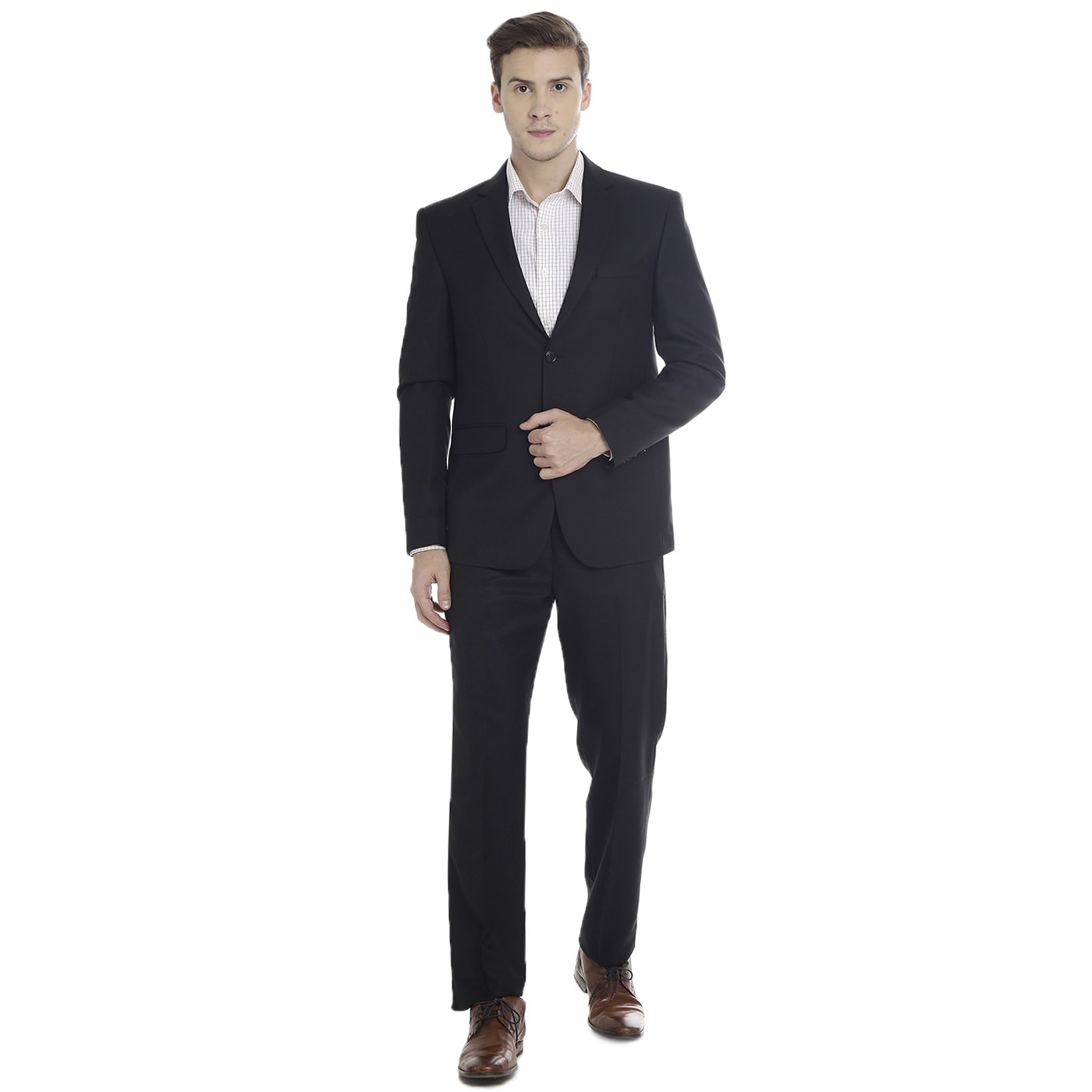 Double TWO Black Slim Fit Mens Suit