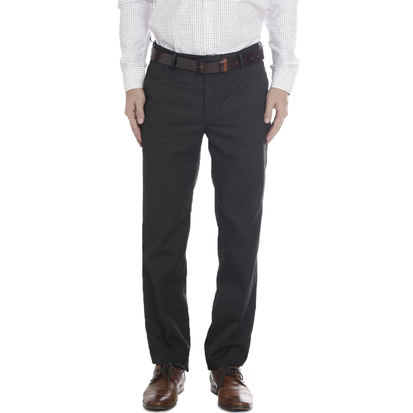 Double Two Slim Fit Men Grey Trousers