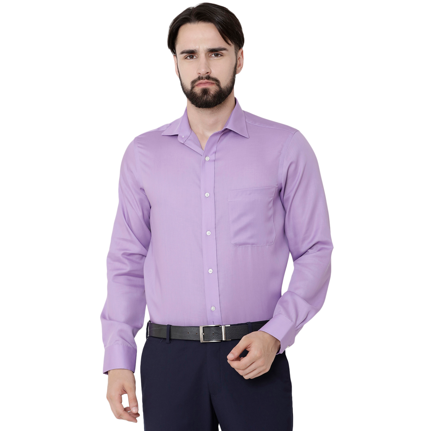Double TWO Paradigm Men's Solid Purple Pure Cotton Non-Iron Shirt