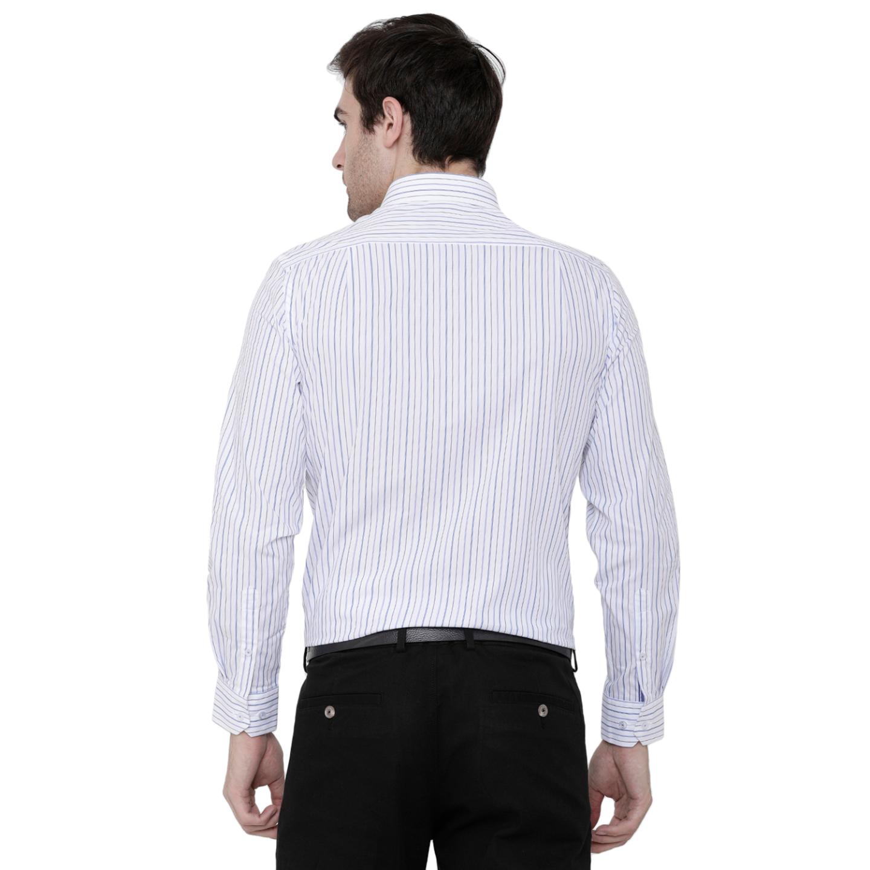 Double TWO Blue Mini Grid Stripe Formal Shirt