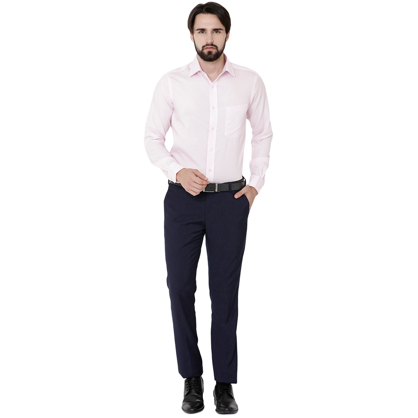 Double TWO Paradigm Mens Solid Pale Pink Pure Cotton Non-Iron Wrinkle Free Shirt