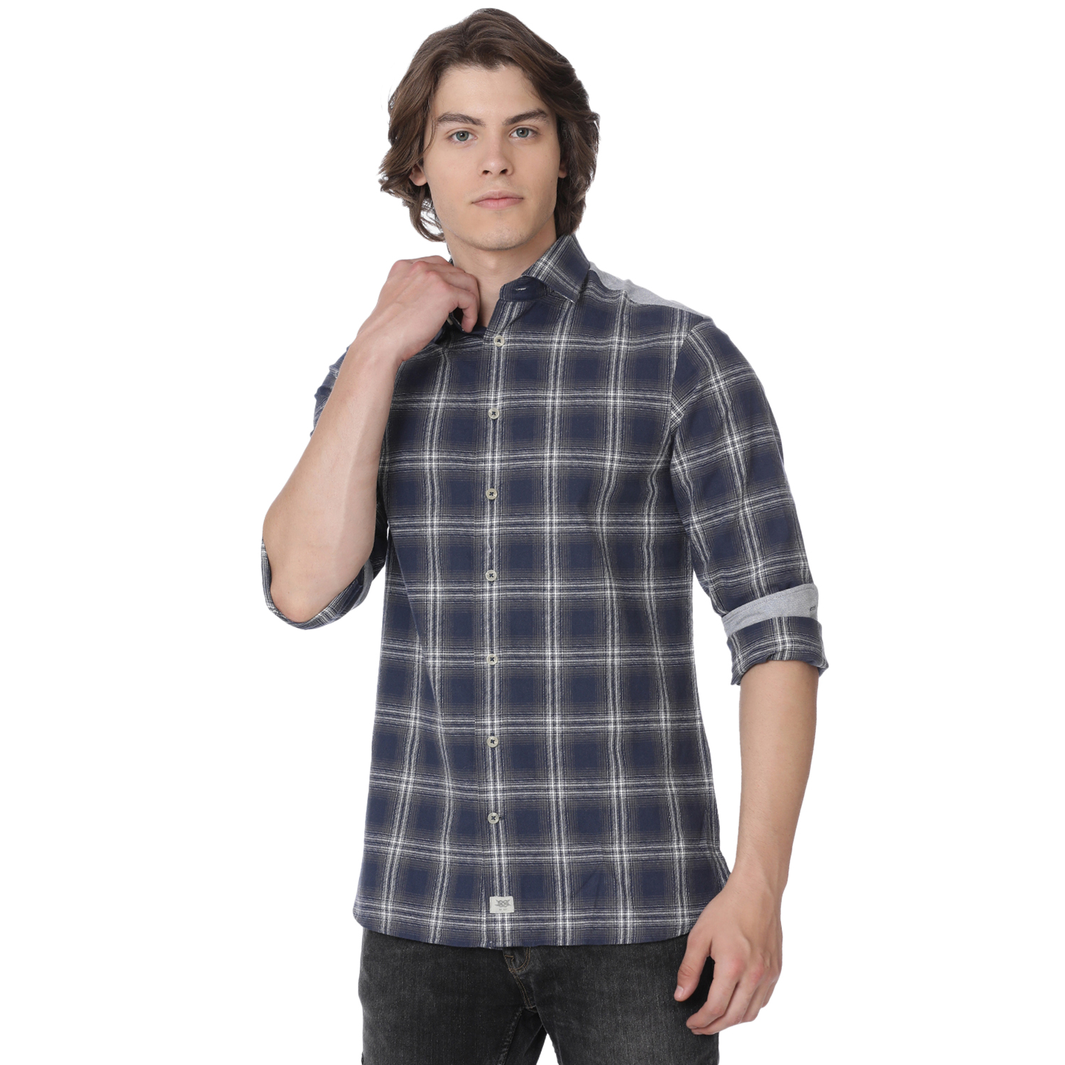 Bar Harbour Navy Rhys Check Casual Shirt
