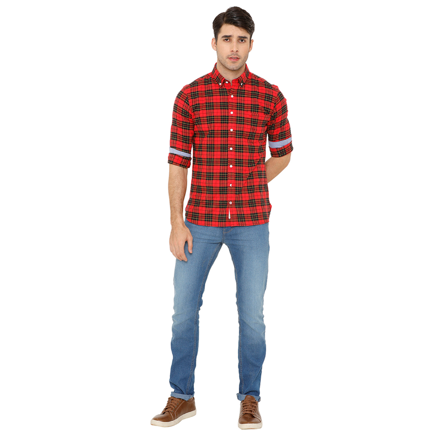 Bar Harbour Men Red & Yellow Slim Fit Checked Casual Shirt