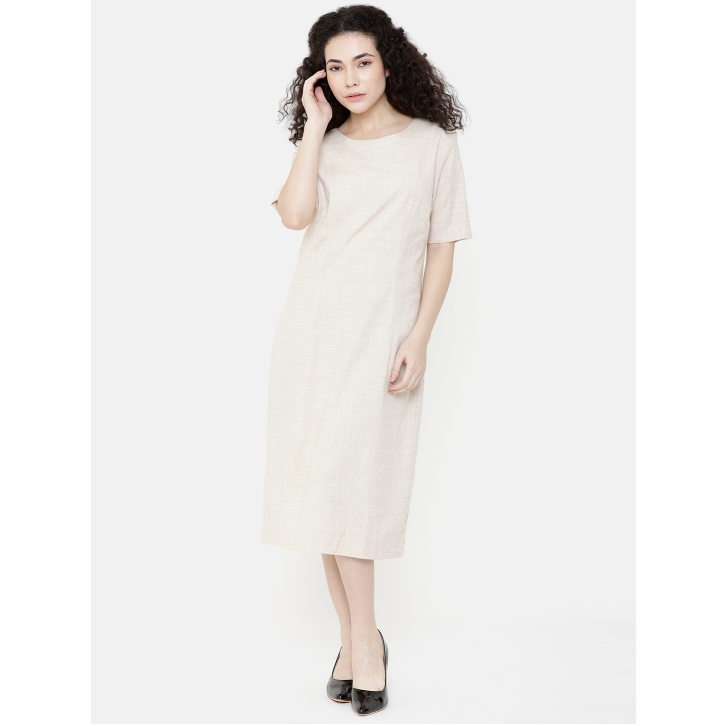 Double TWO Cream Solid Dress