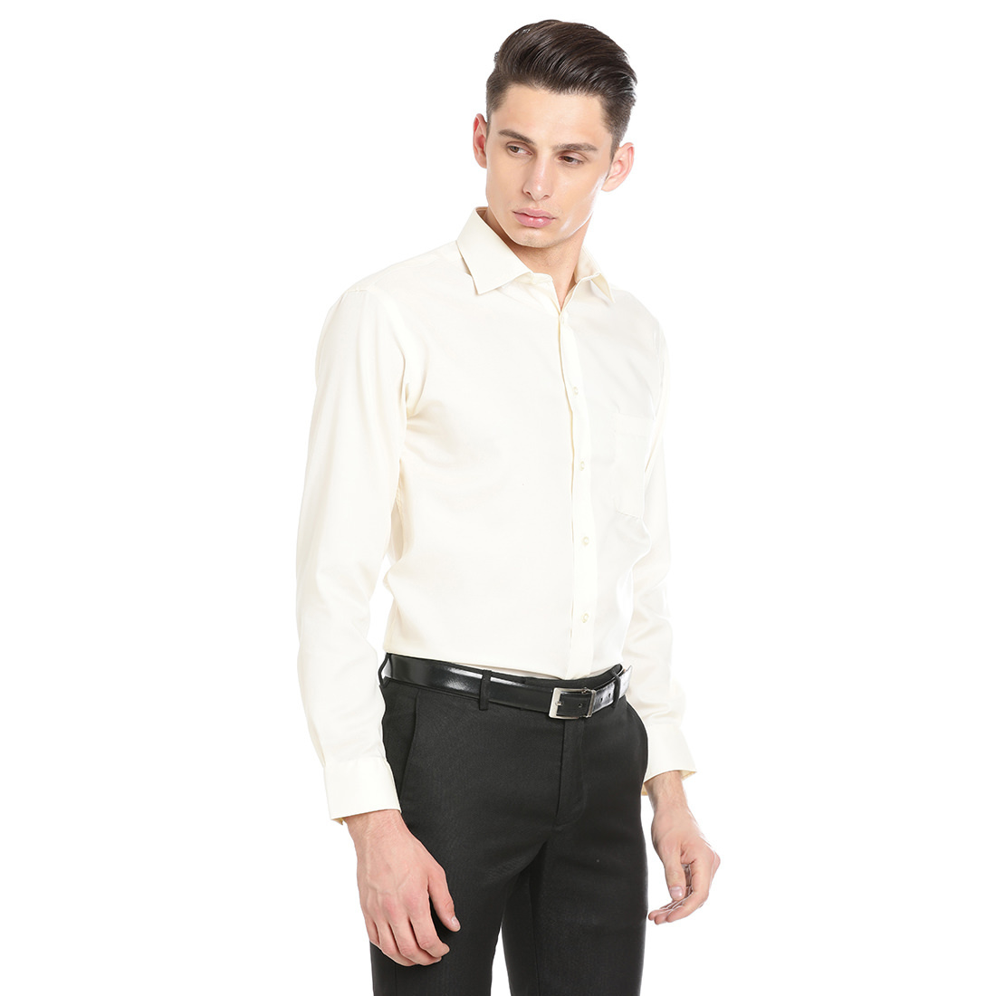 Paradigm Cream Color Formal Pure Cotton Non-Iron Shirt