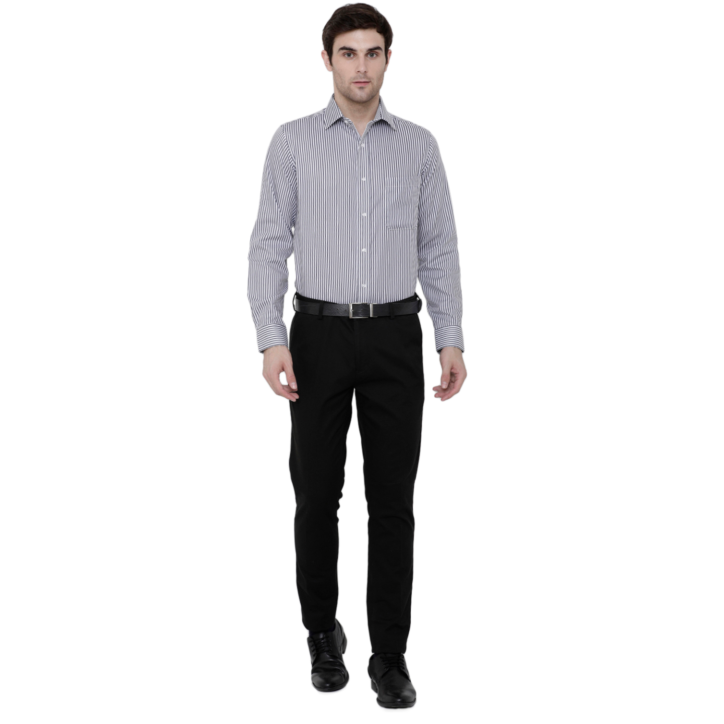 Double TWO Paradigm Mens Striped Charcoal Pure Cotton Non-Iron Shirt