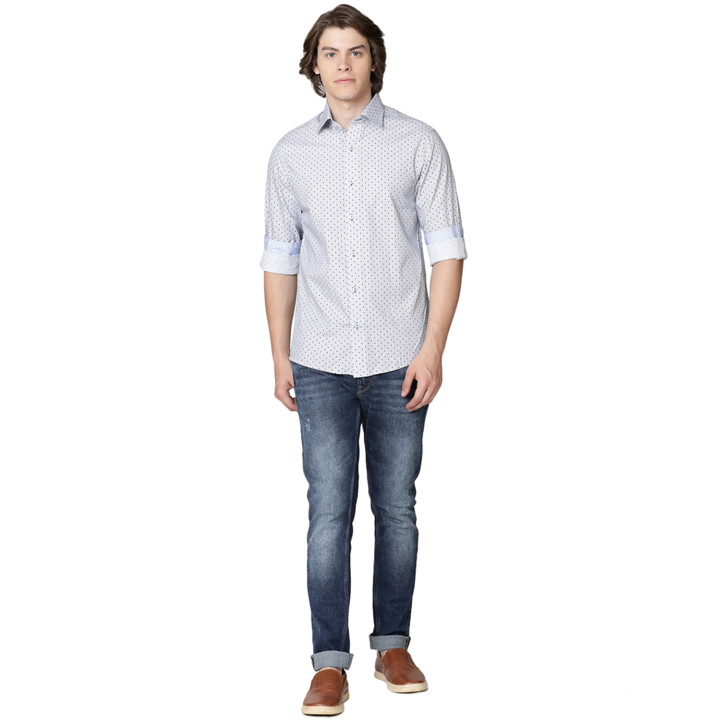 Double TWO Navy Spotted Formal Shirt