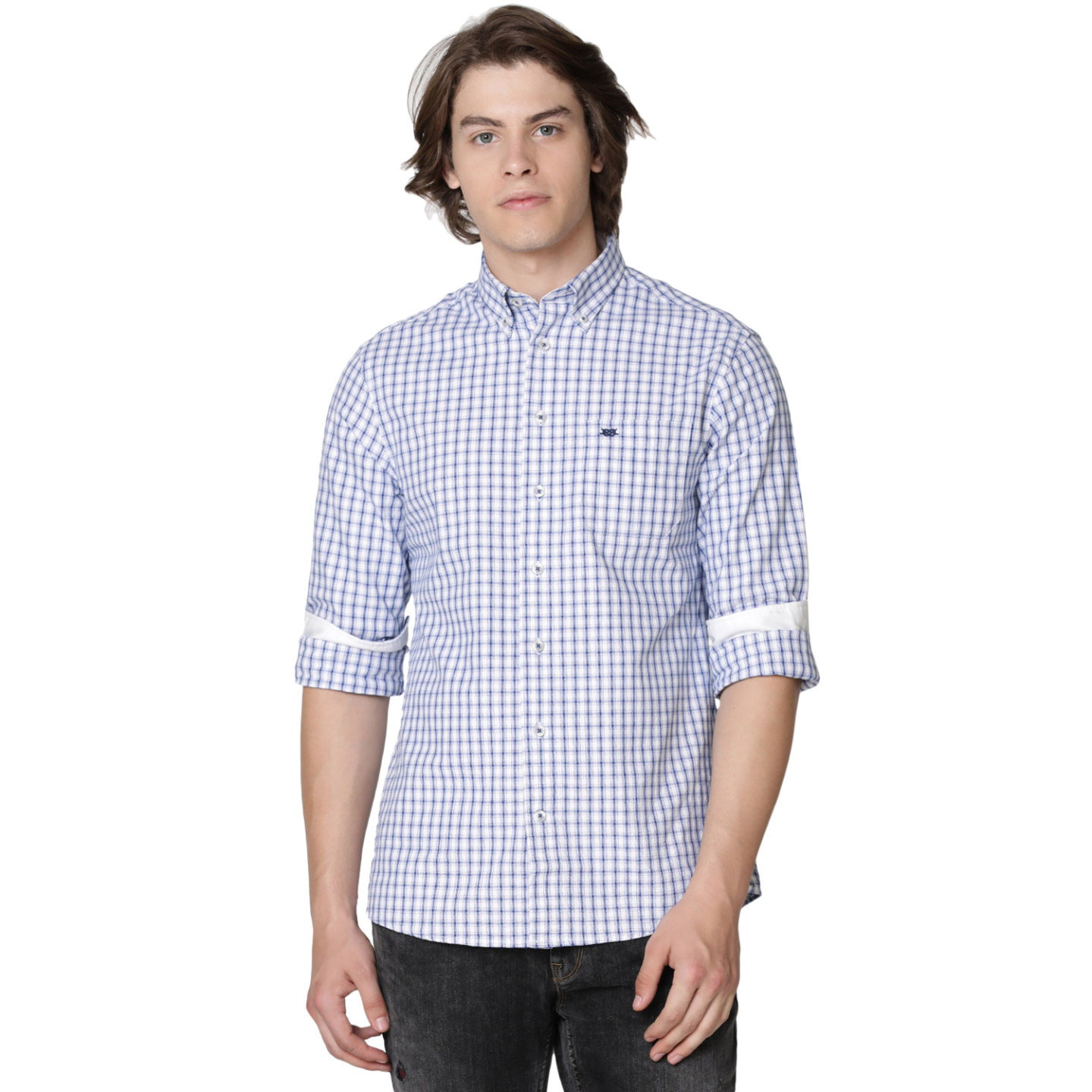 Bar Harbour Blue & White Eddie Oxford Check Casual Shirt