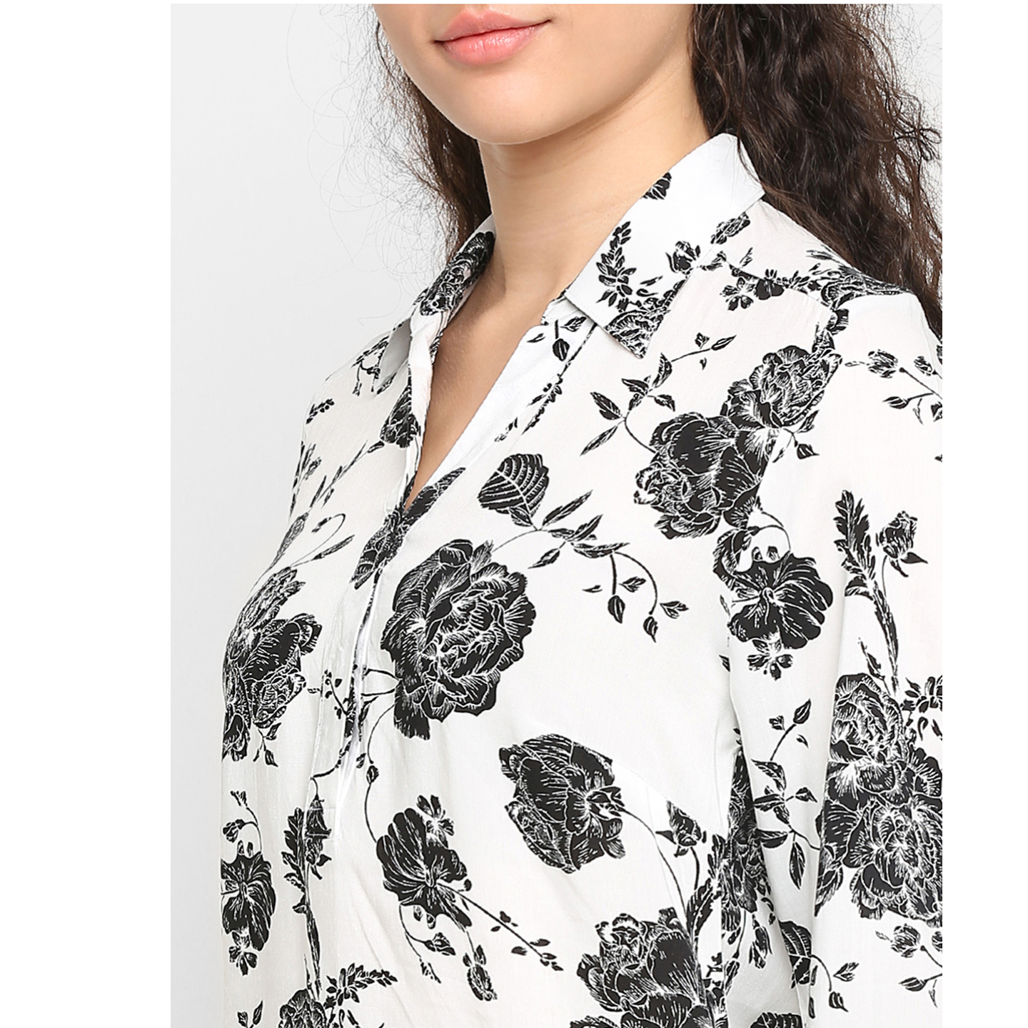 Double TWO Womens White and Black Bloom Print Shirt