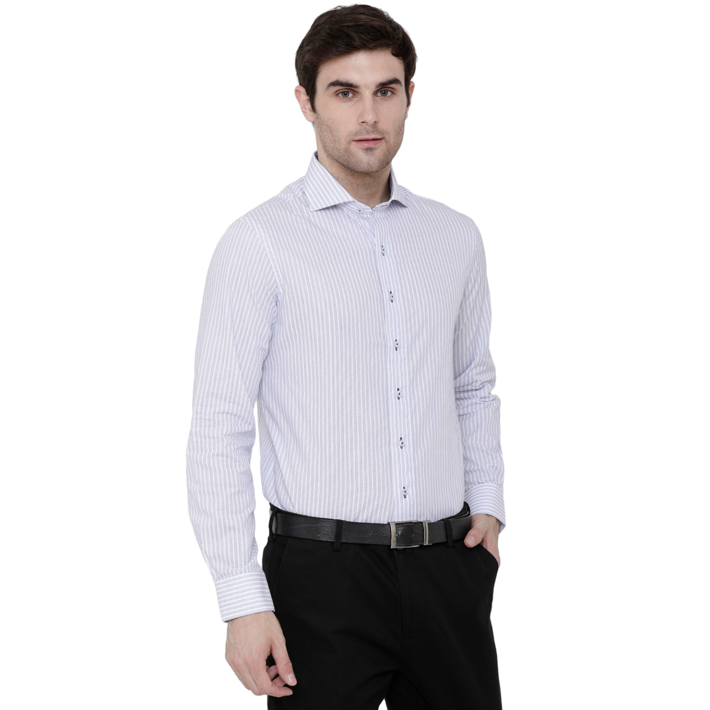 Double TWO Navy Textured Bar Stripe Formal Shirt