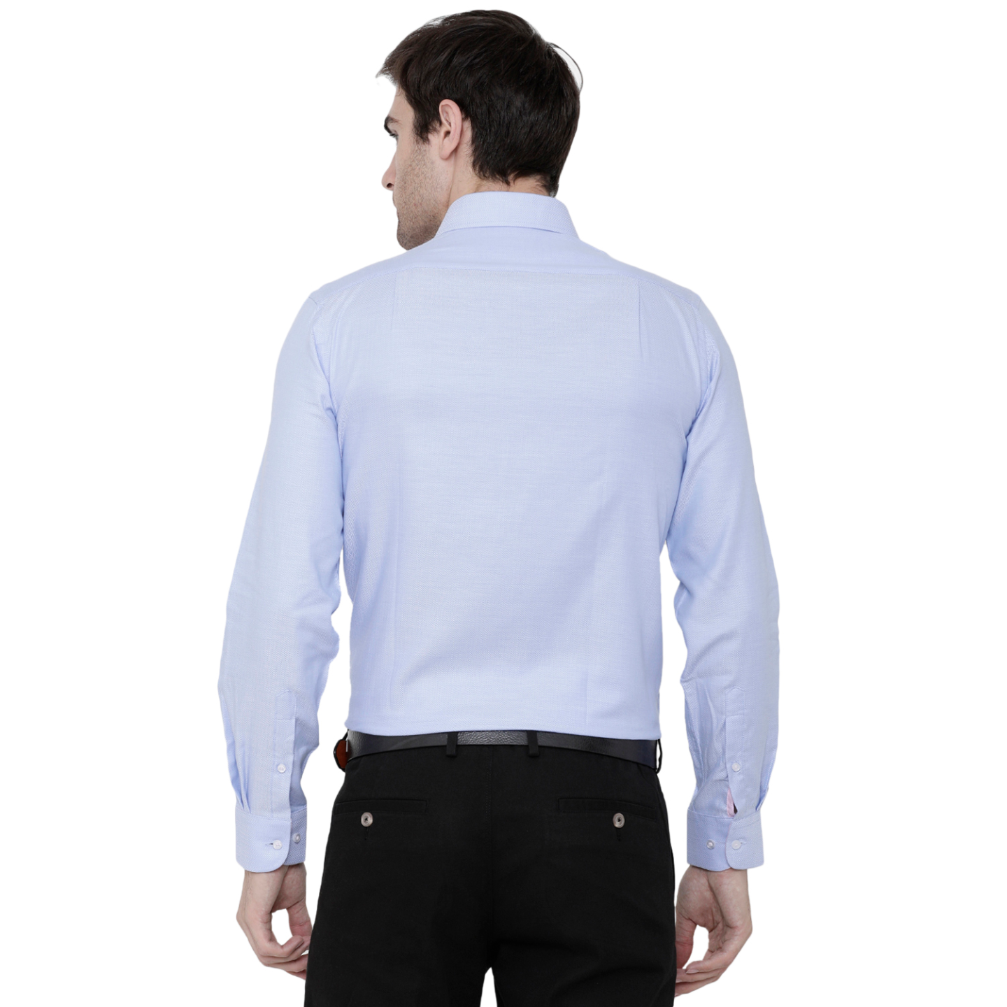Double TWO Blue Herringbone Formal Shirt