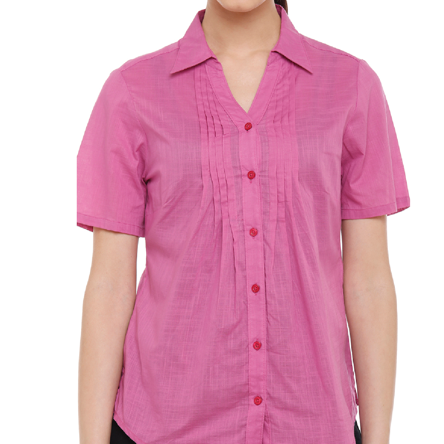 Double TWO Womens Cotton Half Sleeve Pink Shirt