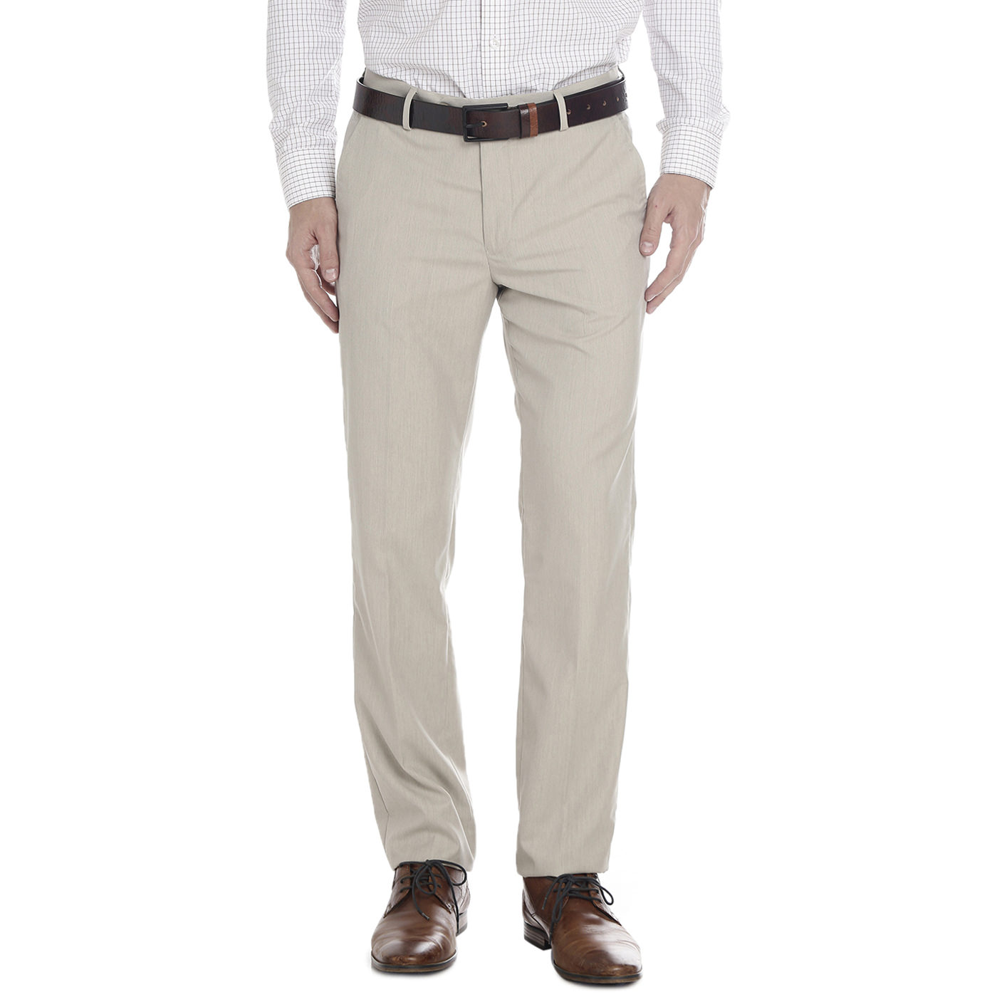 Double Two Slim Fit Men Beige Trousers