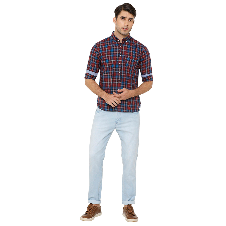 Bar Harbour Men Burgundy & Blue Slim Fit Checked Casual Shirt