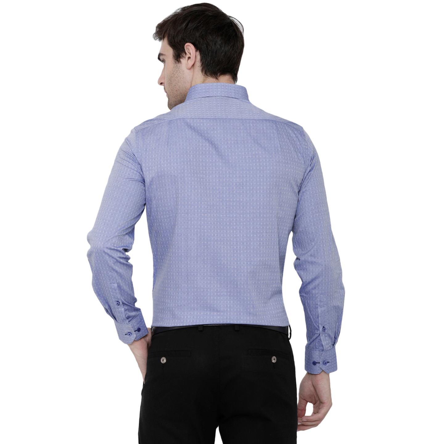 Double TWO Blue Dobby Weave Patterned Formal Shirt