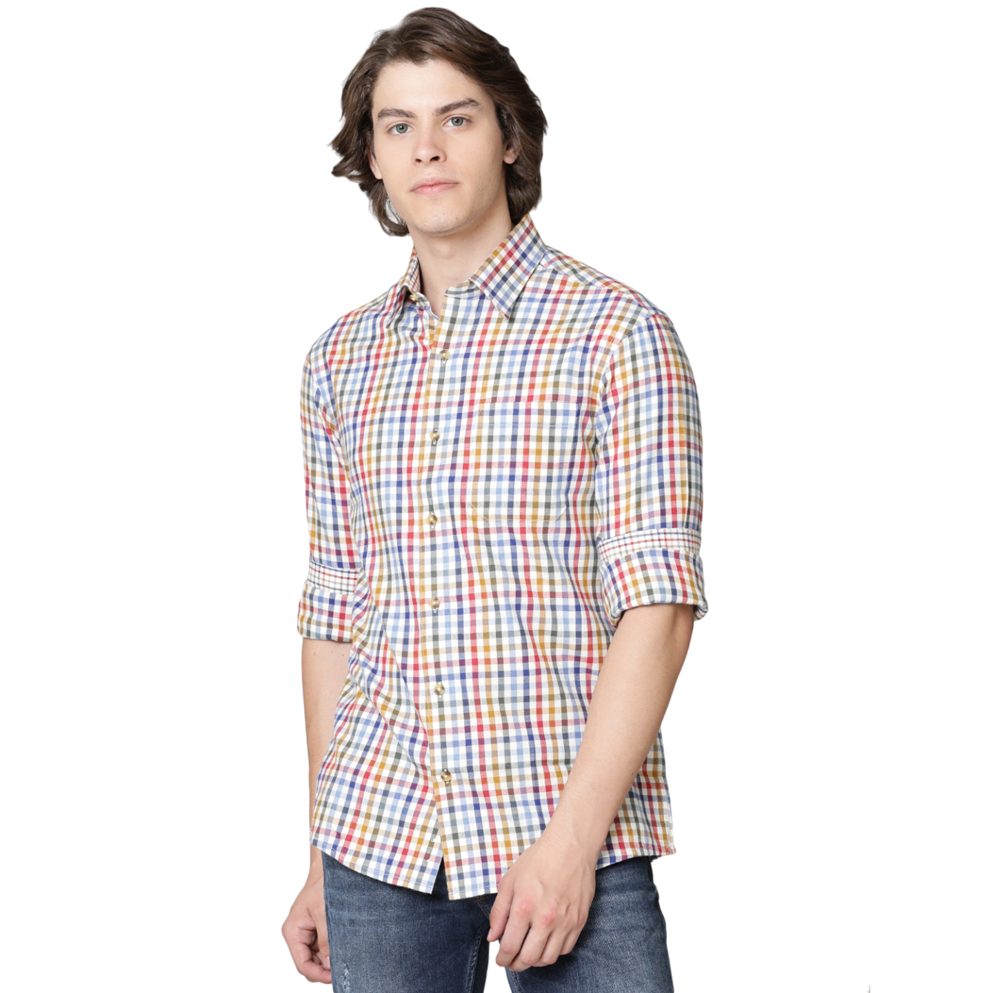 Double TWO Gold Check Warm Handle Formal Shirt