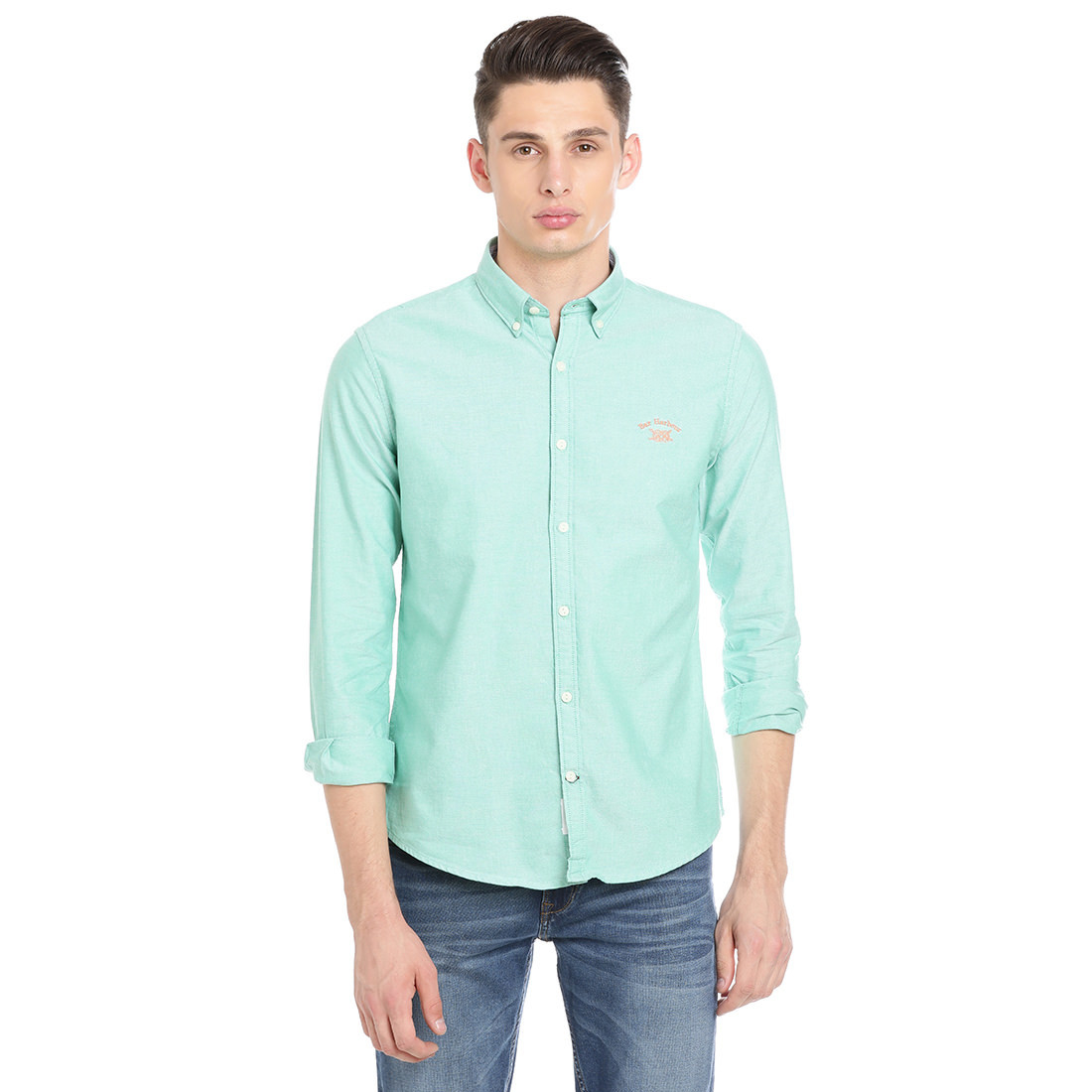 Bar Harbour Men Solid Casual Green Shirt