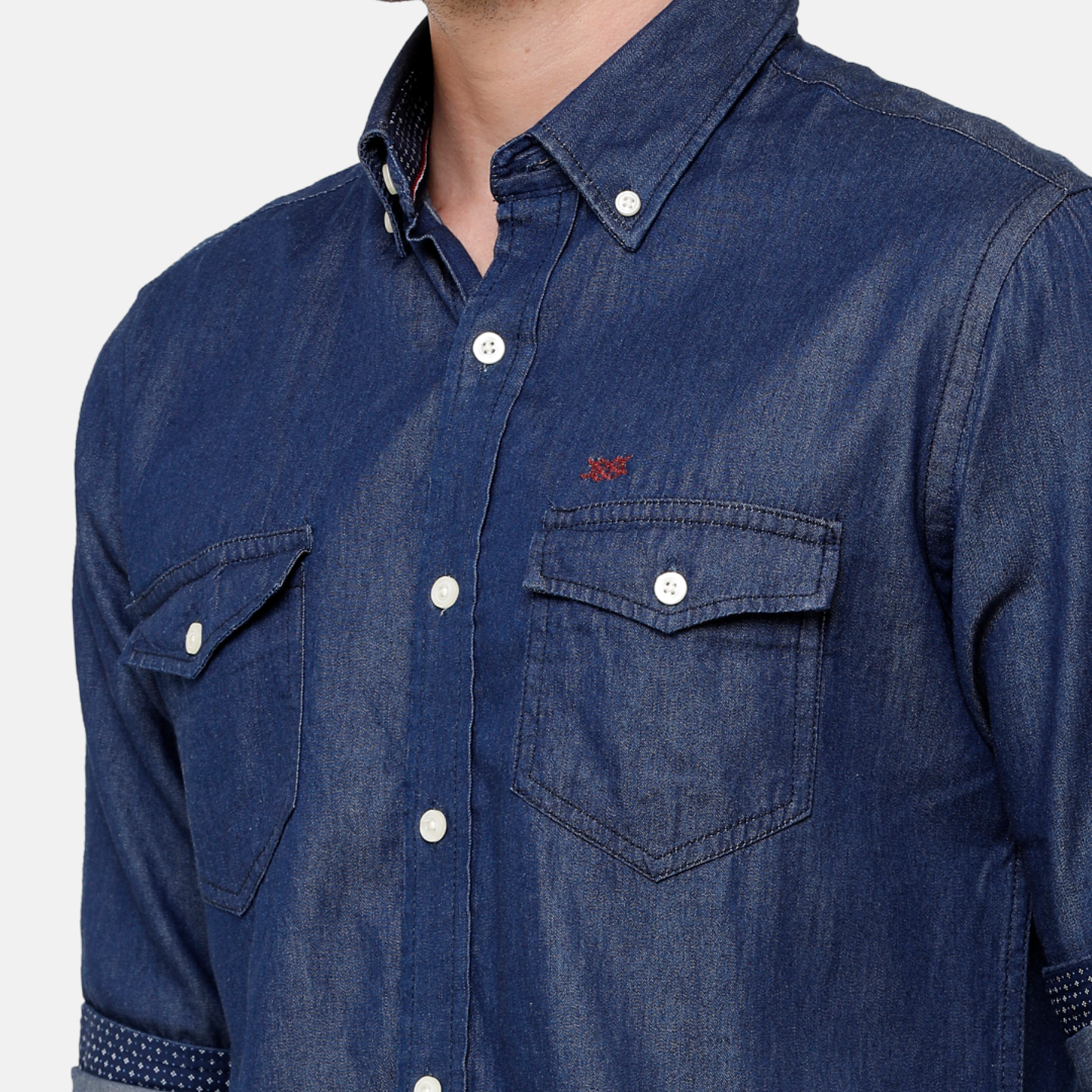 Double Two Mens Long Sleeves 100 Cotton Silky Denim with 2 Flap Pockets Shirt Casual Shirt