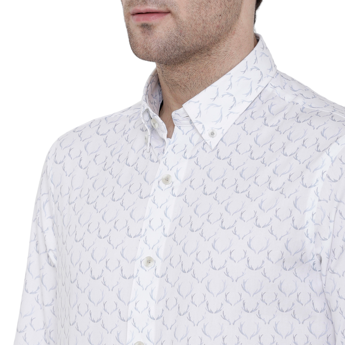 Double TWO Grey Antler Print Formal Shirt