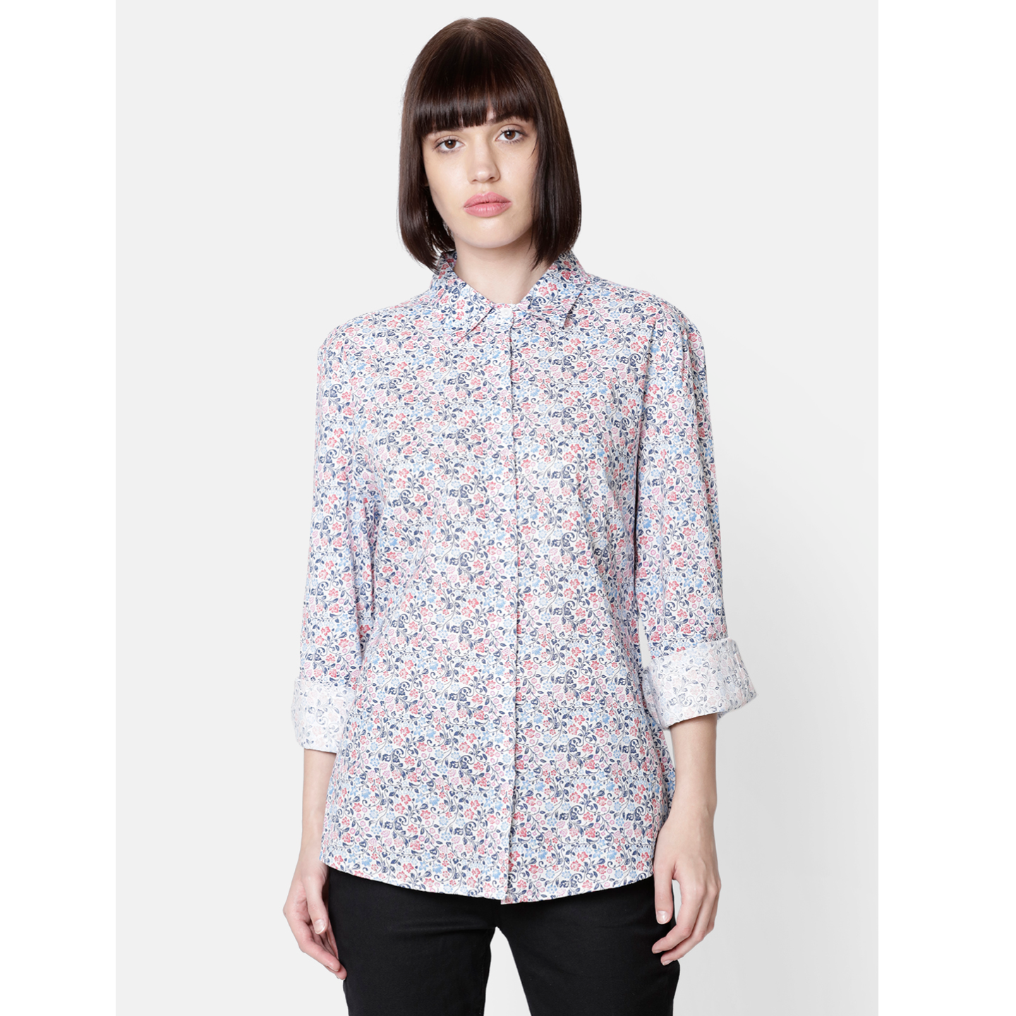 Double TWO Women Blue Floral Frill Semi Fitted Top