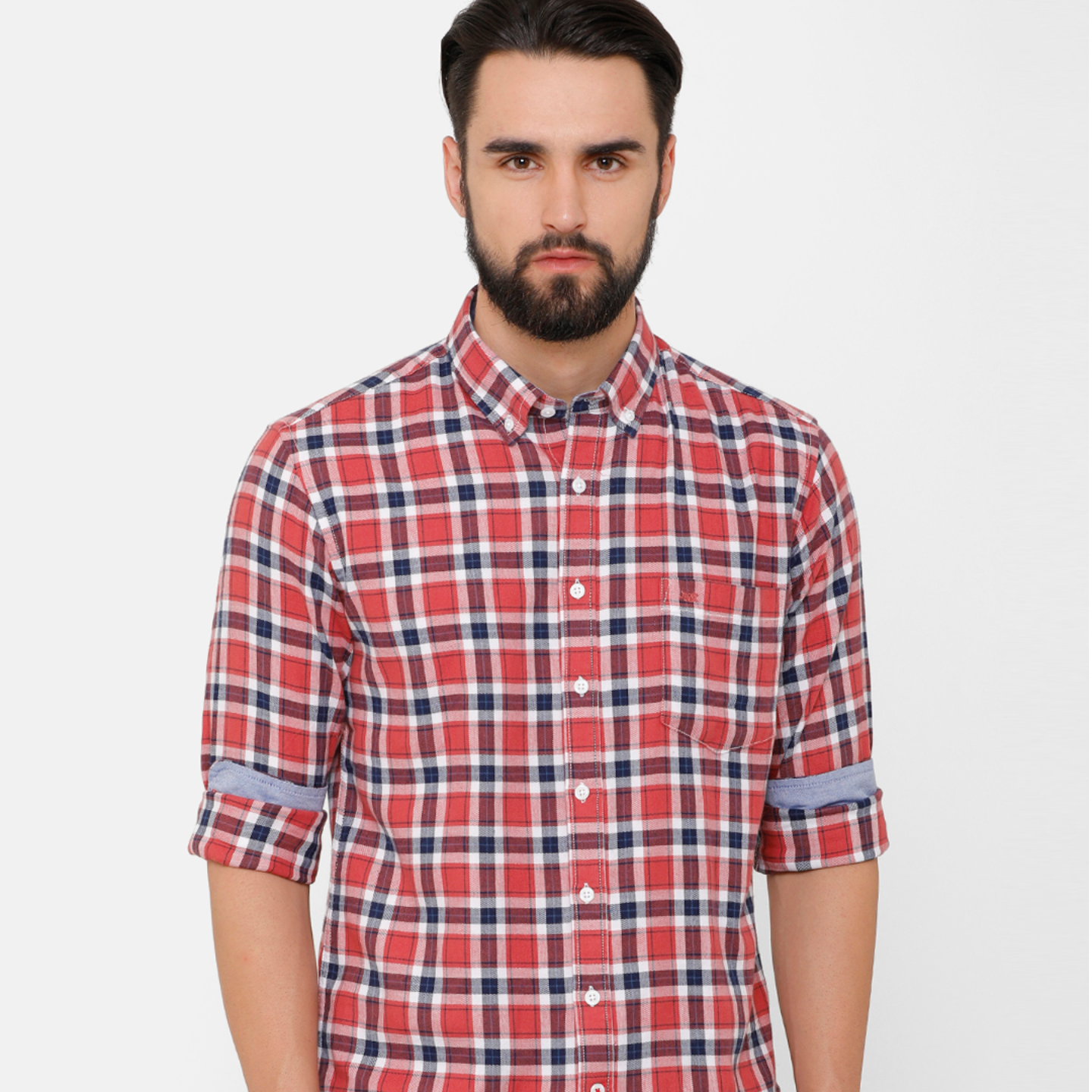 Bar Harbour Men Coral & Navy Blue Slim Fit Checked Casual Shirt