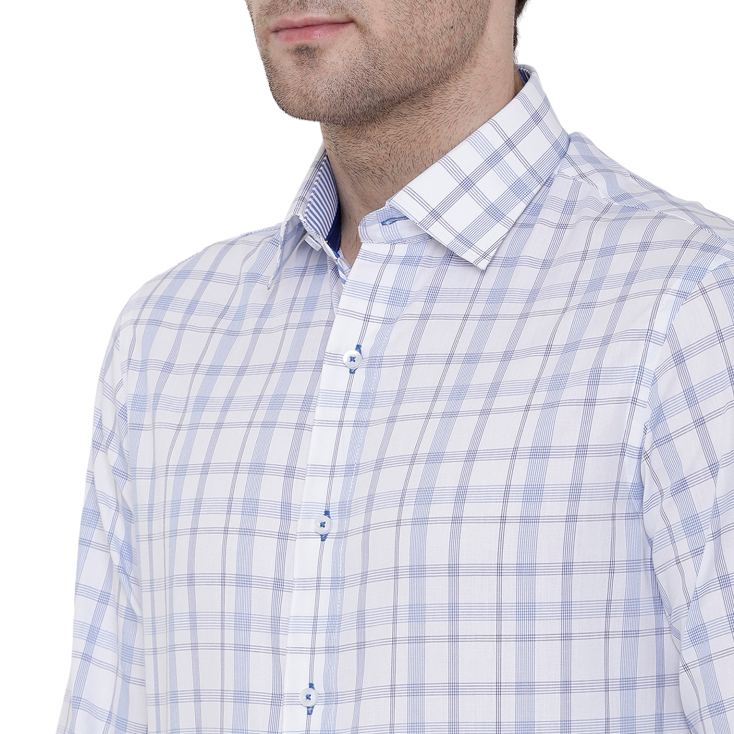Double TWO Blue Marked Check Formal Shirt