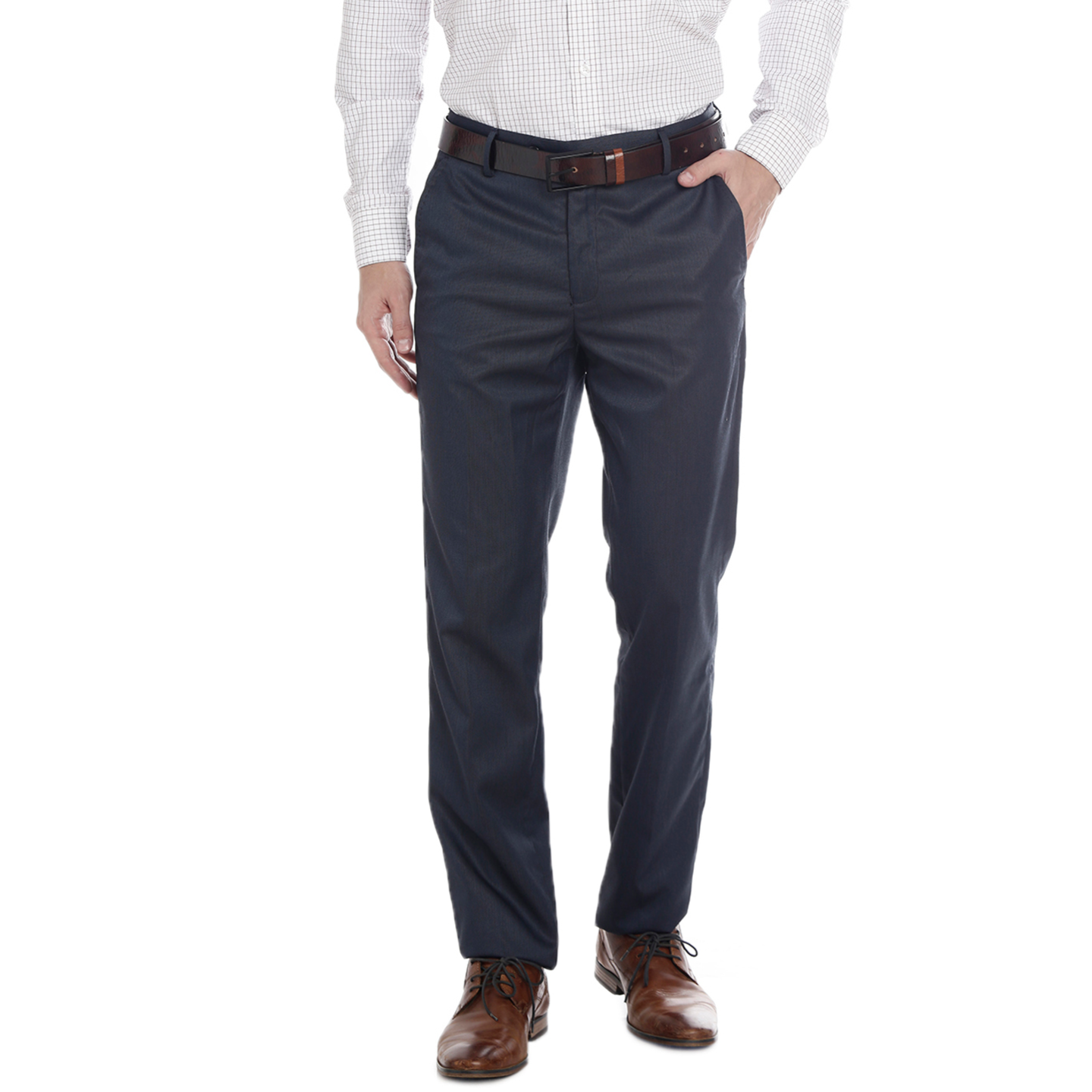 Double TWO Mens Slim Fit Black Formal Trouser