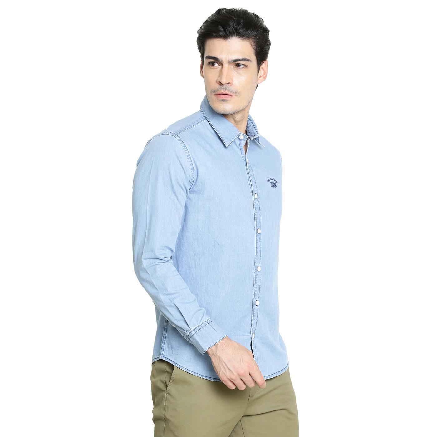 Bar Harbour Men Solid Casual Light Blue Denim Shirt