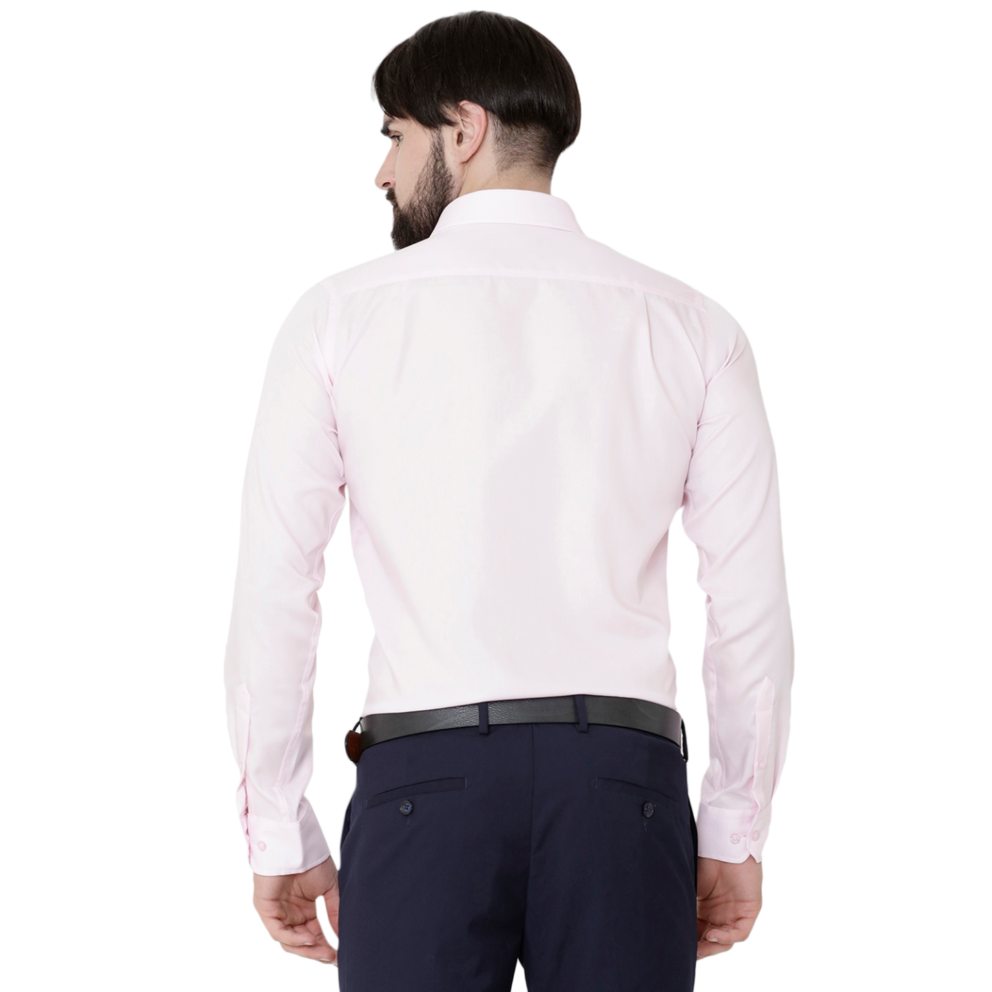 Double TWO Paradigm Men's Solid Pale Pink Pure Cotton Non-Iron Wrinkle Free Shirt