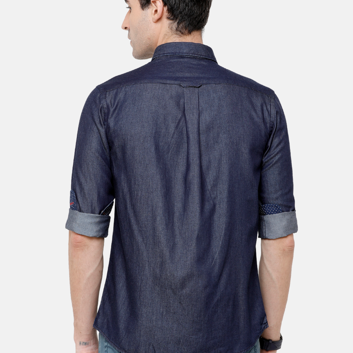 Double Two Mens Long Sleeves 100 Cotton Silky Denim Shirt Casual Shirt
