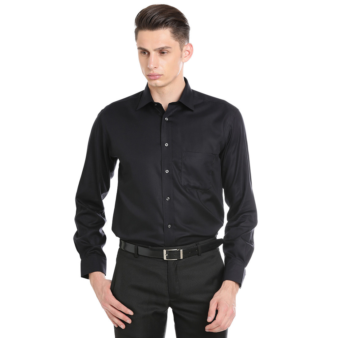 Paradigm Black Color Formal Pure Cotton Non-Iron Shirt