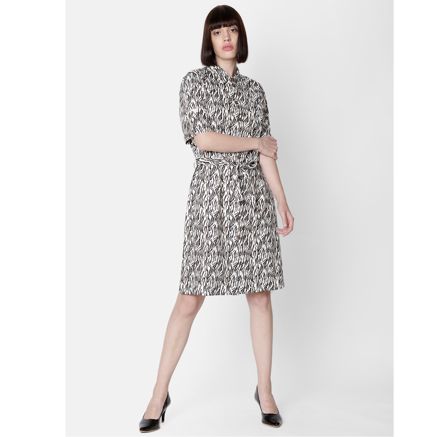 Double TWO Animal Print Shirt Dress