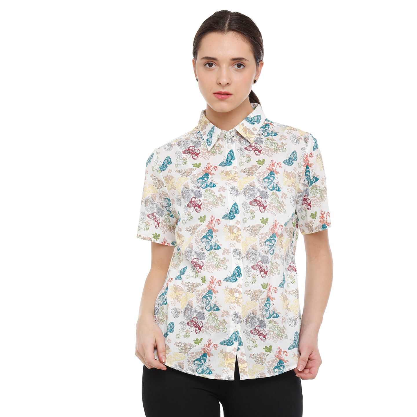 Double TWO Womens Cotton Multi-Colour Butterfly Half Sleeve Shirt