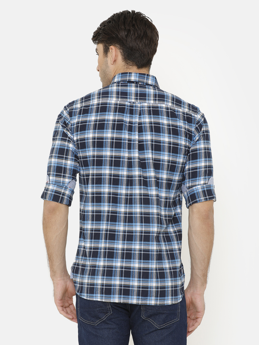 Bar Harbour Men Teal Blue & White Slim Fit Checked Casual Shirt