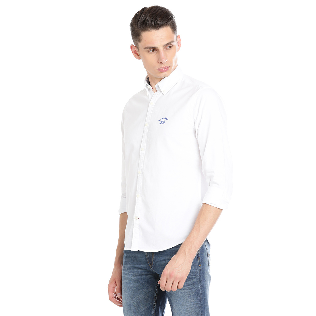 Bar Harbour  Men Solid Casual White Shirt
