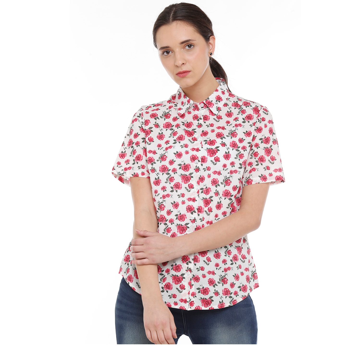 Double TWO Womens Cotton Red Flower Shirt
