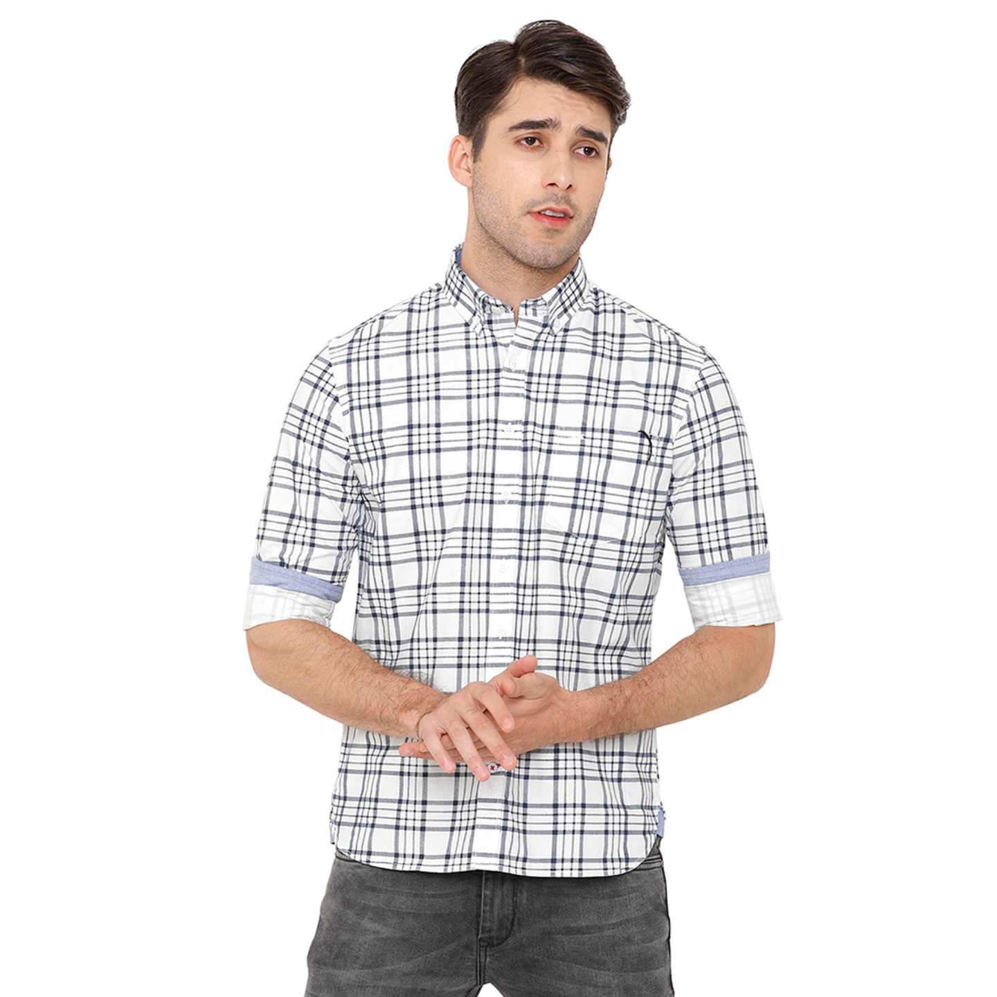 Bar Harbour Men White & Navy Blue Slim Fit Checked Casual Shirt