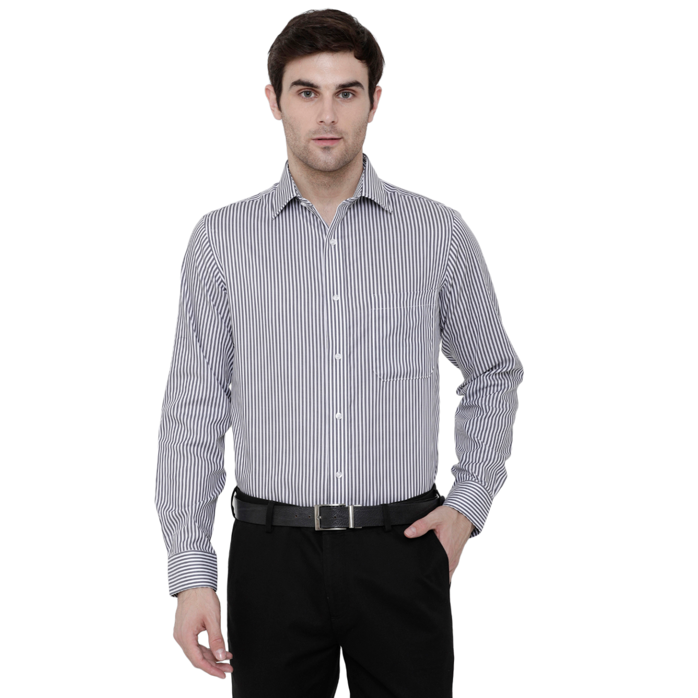 Double TWO Paradigm Men's Striped Charcoal Pure Cotton Non-Iron Shirt