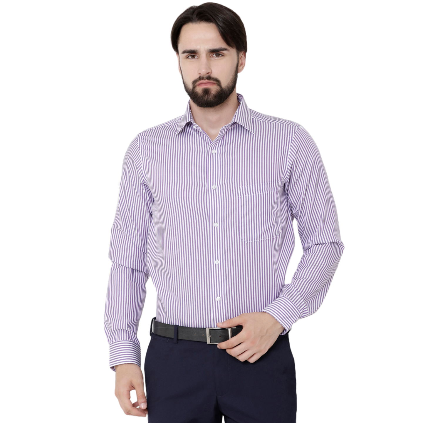 Double TWO Paradigm Men's Striped Purple Pure Cotton Non-Iron Shirt