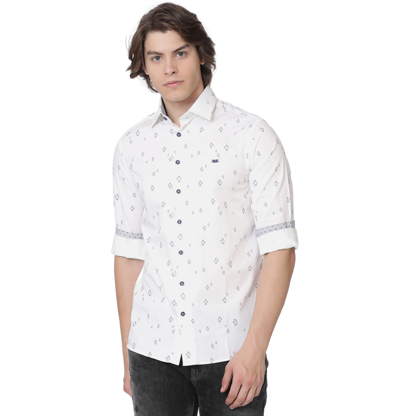 Bar Harbour White Penguin Print Casual Shirt