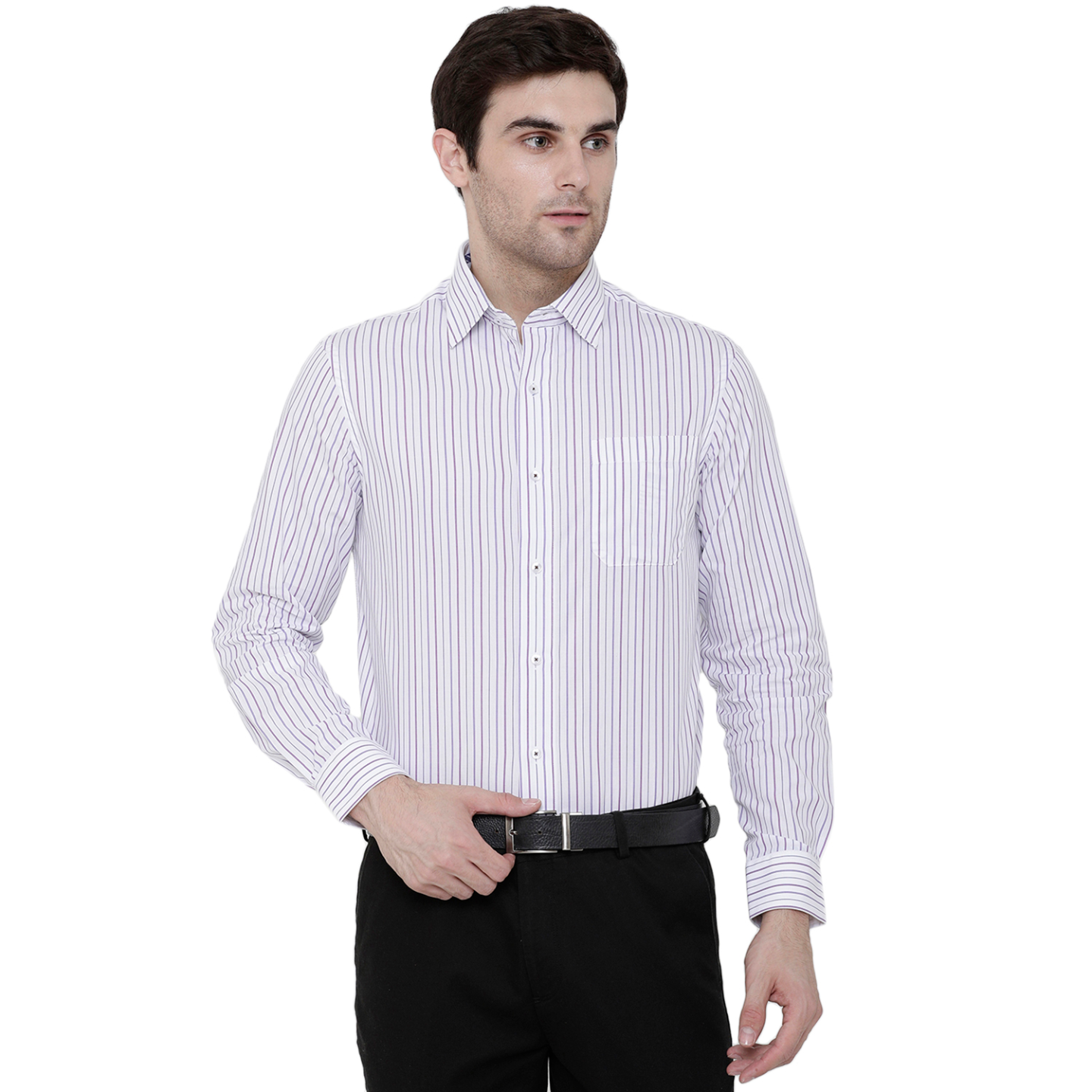 Double TWO Berry Mini Grid Stripe Formal Shirt
