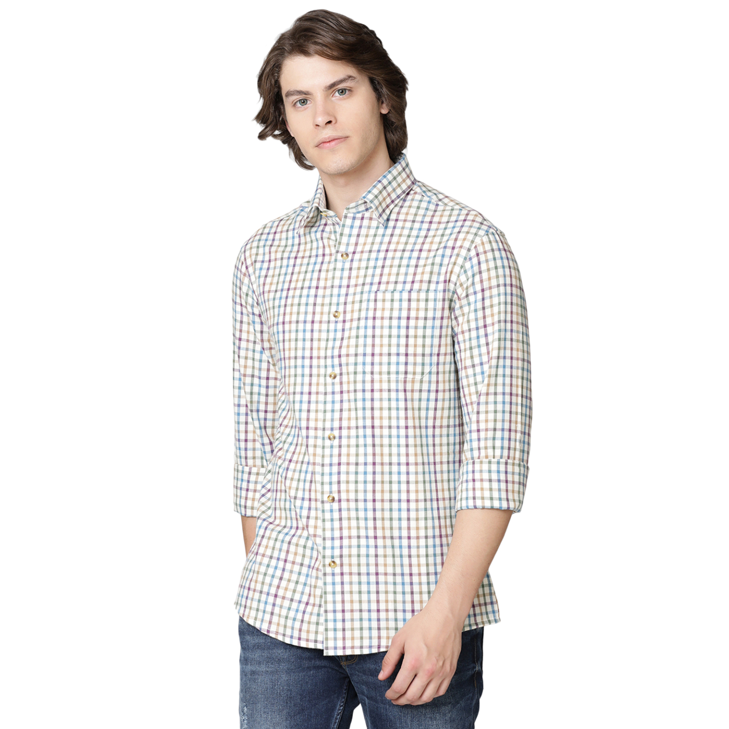 Double TWO Mauve Check Warm Handle Formal Shirt