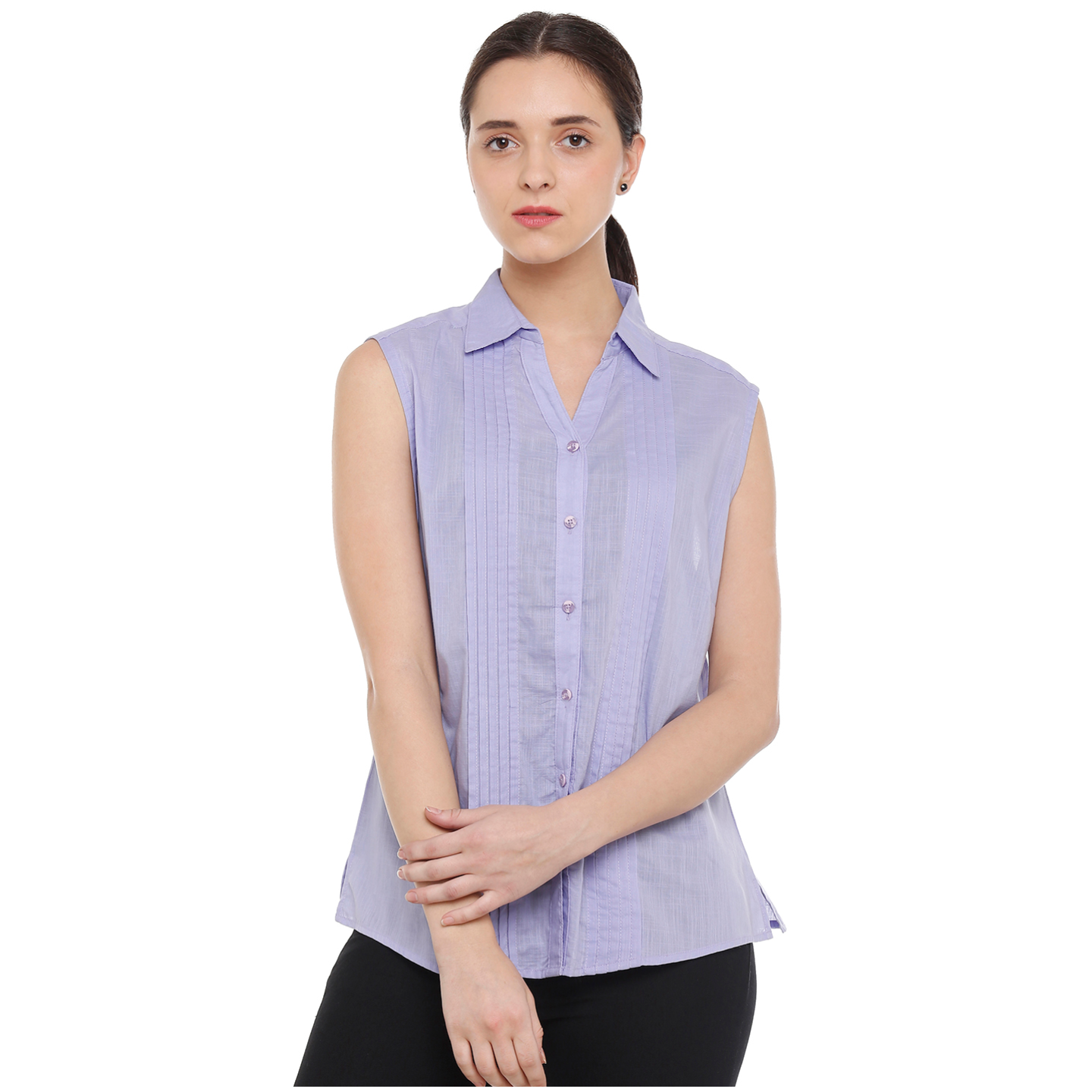Double TWO Womens Cotton Pleated Purple Sleeveless Shirt