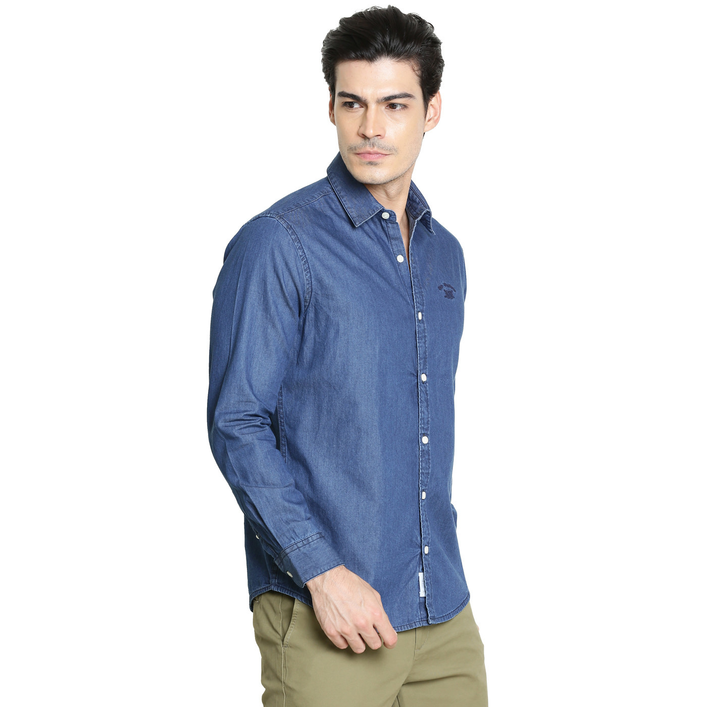 Bar Harbour Men Solid Casual Dark Blue Denim Shirt