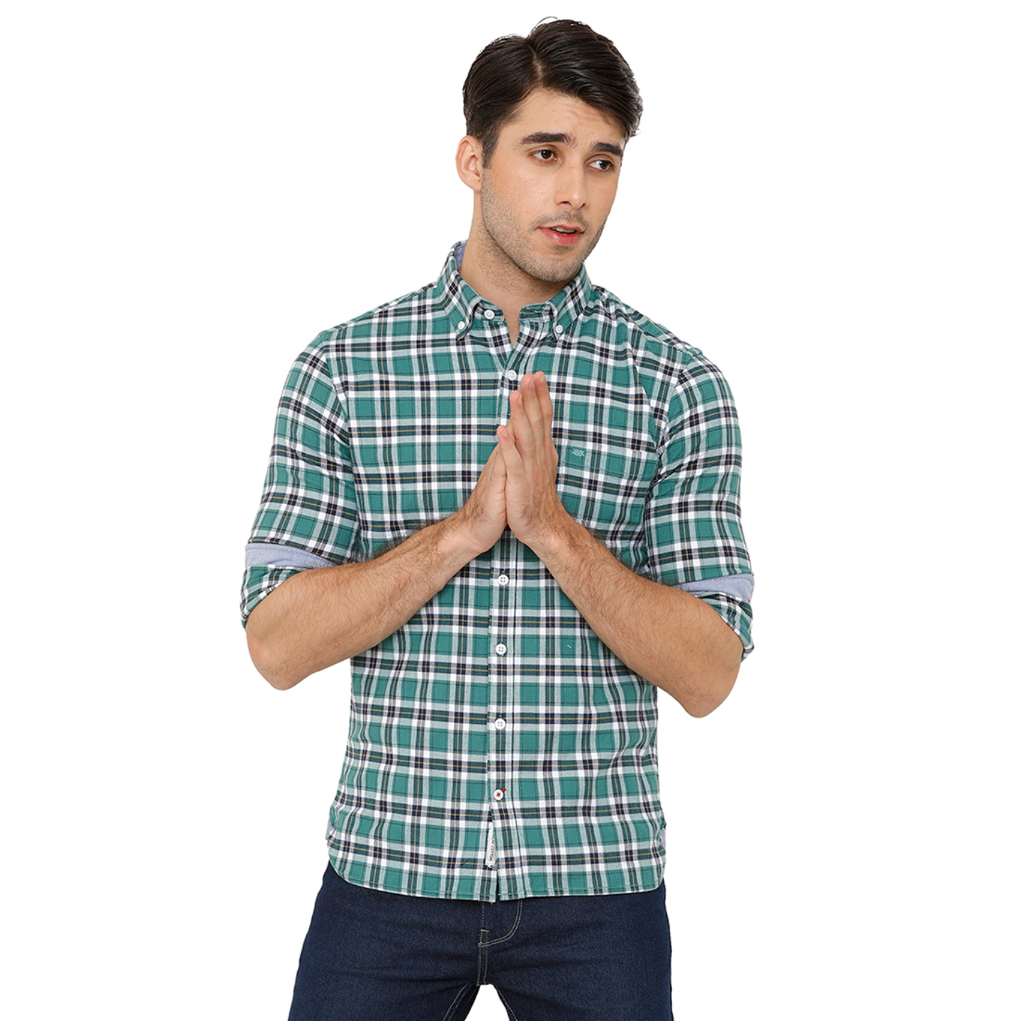Bar Harbour Men Sea Green & Navy Blue Slim Fit Checked Casual Shirt