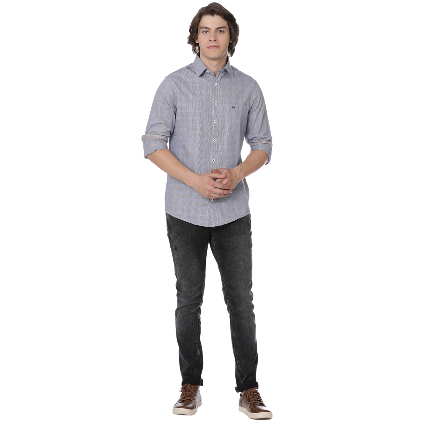 Bar Harbour Grey Cooper Puppytooth Casual Shirt